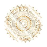 conception en forme de fleur d'or mandala vecteur