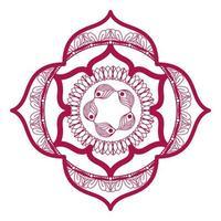 mandala dans un cadre design rose vecteur