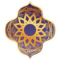 mandala or dans la conception de cadre violet vecteur