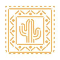 Icône de cactus orange mexicain sur fond blanc