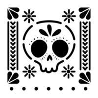 icône de crâne mexicain avec petits soleils