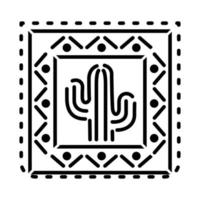 Icône de cactus mexicain en carré sur fond blanc
