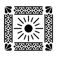 Icône de soleil mexicain en carré sur fond blanc
