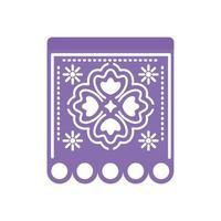 guirlande de couleur violette avec trèfle sur fond blanc