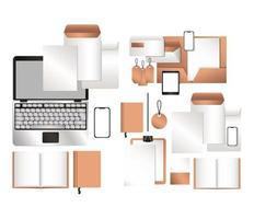 maquette ordinateur portable tablette smartphone et ensemble d'identité d'entreprise