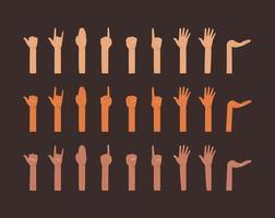 mains de différents types de conception de peaux
