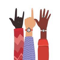 numéro un, signe de roche et ouvrir les mains