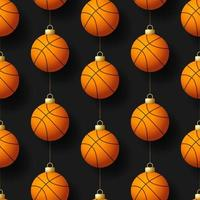 noël, suspendu, basket-ball, ornements, seamless, modèle