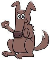 dessin animé drôle chien animal personnage agitant la patte