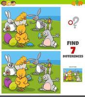 tâche de différences avec des personnages de Pâques comiques