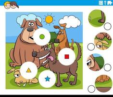 Match de pièces de puzzle avec des personnages de chiens de bande dessinée