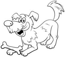 personnage de dessin animé de chien avec page de livre de couleur os