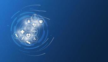icônes de la science médicale sur fond de technologie abstraite