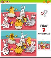 jeu de différences avec des personnages de Pâques comiques