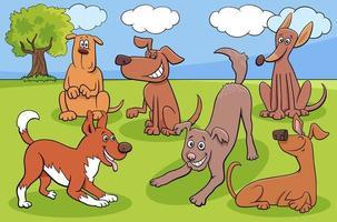 Groupe de personnages de chiens et chiots de dessin animé dans le parc
