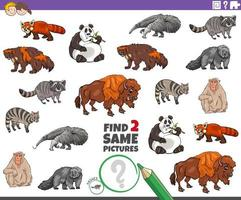 trouver deux mêmes jeux de personnages animaux pour les enfants