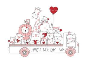Adorables bébés animaux avec des coeurs en camion