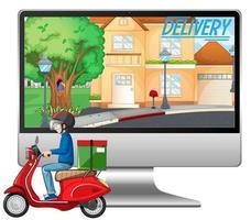 ordinateur avec logo homme vélo ou courrier et livraison