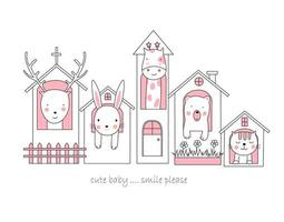 mignons bébés animaux dans les maisons
