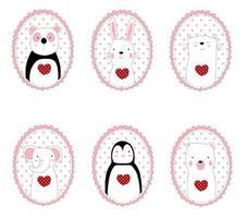 animaux mignons dessinés à la main dans des cadres ovales