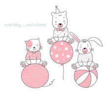 animaux mignons dessinés à la main avec bâillement, ballon et ballon