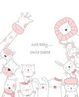 dessin animé animal mignon style dessiné à la main