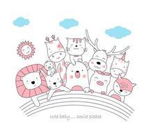 mignons bébés animaux et arc en ciel