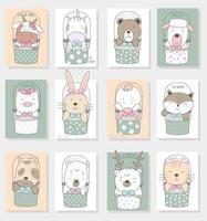 Bébés animaux mignons dessinés à la main dans des cartes de seaux
