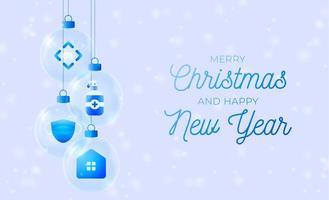 icônes de coronavirus dans la bannière de Noël de boules de verre