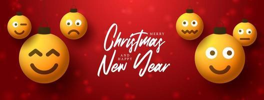 voeux de noël et nouvel an avec des ornements de visage emoji