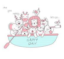 adorables bébés animaux en bateau