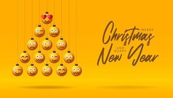 voeux de vacances avec des ornements de visage emoji en forme d'arbre