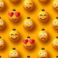 Modèle sans couture d'ornements de boule de noël jaune emoji