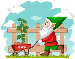 gnome de jardinage avec brouette vecteur