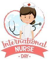 logo de la journée internationale des infirmières avec une infirmière mignonne et un stéthoscope vecteur