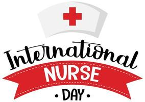 logo de la journée internationale des infirmières avec casquette d'infirmière vecteur