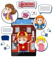 Appel vidéo de tablette sur le verrouillage et le virus corona avec l'icône des médias sociaux sur fond blanc
