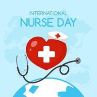 logo de la journée internationale des infirmières avec croix médicale en coeur vecteur