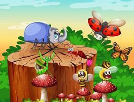 différents insectes et coléoptères vivant dans la scène du jardin pendant la journée