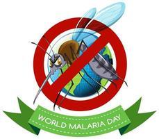 logo de la journée mondiale du paludisme ou bannière avec signe de moustique