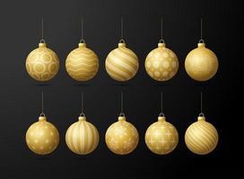 Jeu de boules de sapin de Noël or isolé sur fond noir