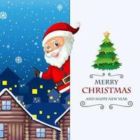 joyeux noël et bonne année carte de voeux avec le père noël vecteur