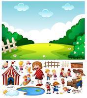 scène de nature vierge avec personnage et objets de dessin animé isolés