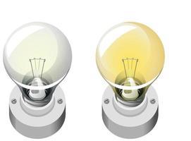 style de dessin animé ampoule isolé sur fond blanc
