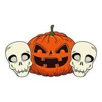 citrouille d'halloween et crânes