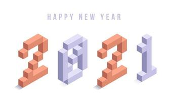 bonne année 2021 typographie isométrique