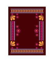 tapis mexicain à cadre floral carré vecteur