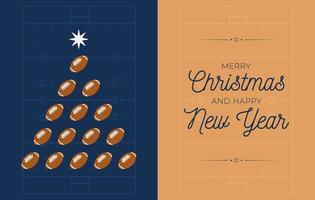 bannière de vacances avec sapin de Noël de football américain