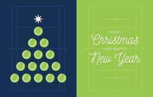 bannière de vacances avec sapin de Noël balle de tennis