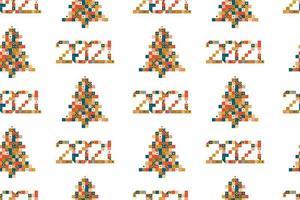 2021 et modèle sans couture de sapin de Noël pixel art